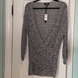 Express Grey Marled Wrap Front Sweater